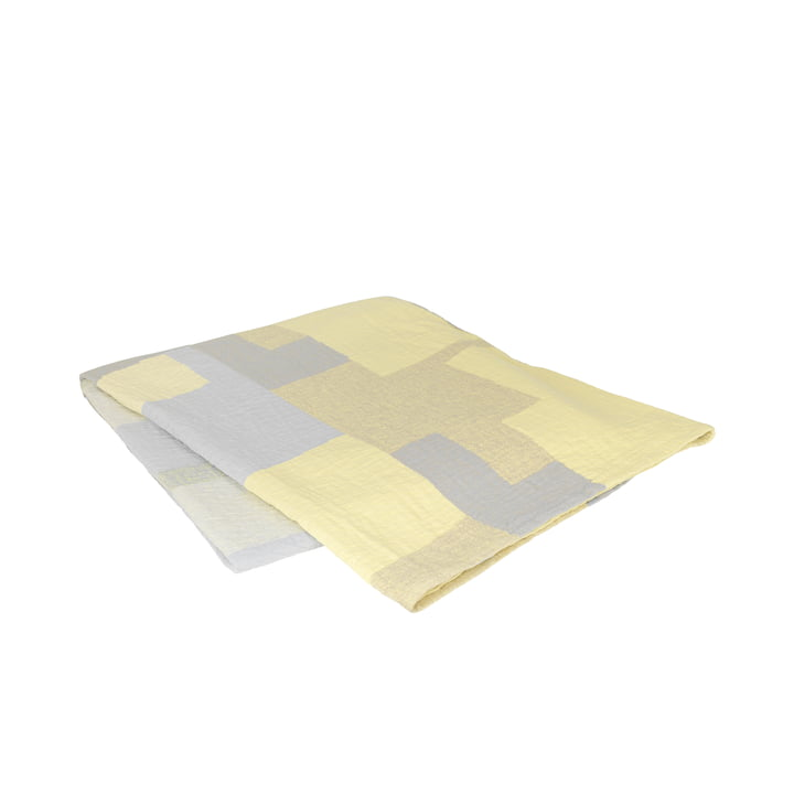 Die Patch Tagesdecke von Broste Copenhagen in gelb / grau, 240 x 260 cm
