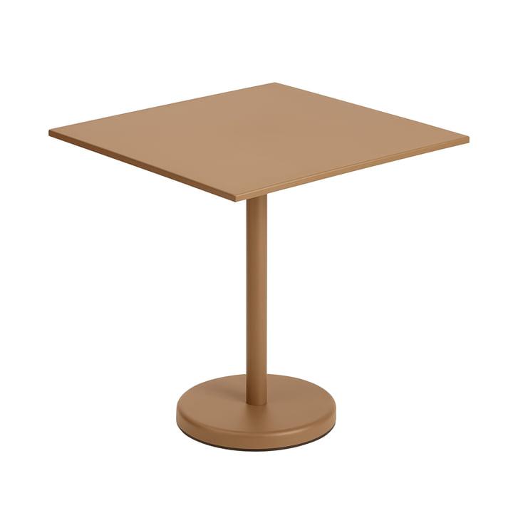 Der Linear Steel Tisch von Muuto, 70 x 70 cm, burnt orange