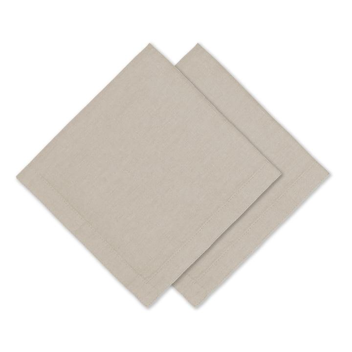 Connox Collection - Leinen Serviette, 45 x 45 cm, 2er-Set, natur
