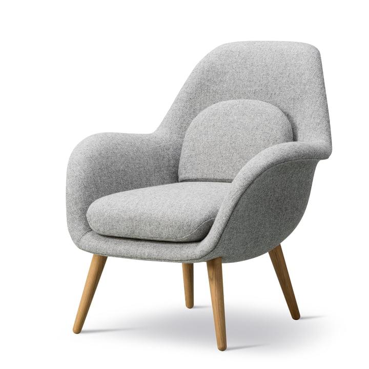 Swoon Lounge Sessel Petite von Fredericia in Eiche geölt / Hallingdal 65 (130)