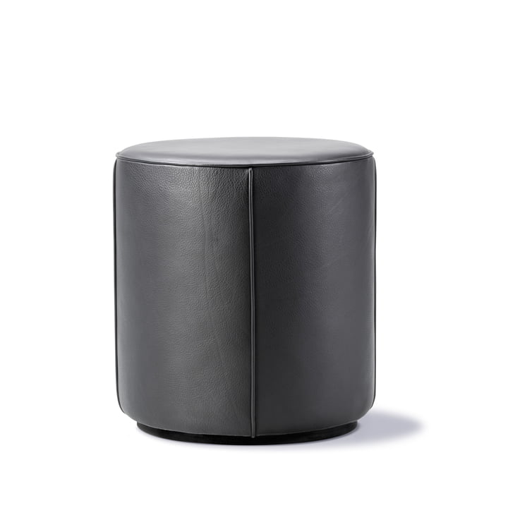 Mono Pouf Ø 39 cm von Fredericia in Leder 301 schwarz