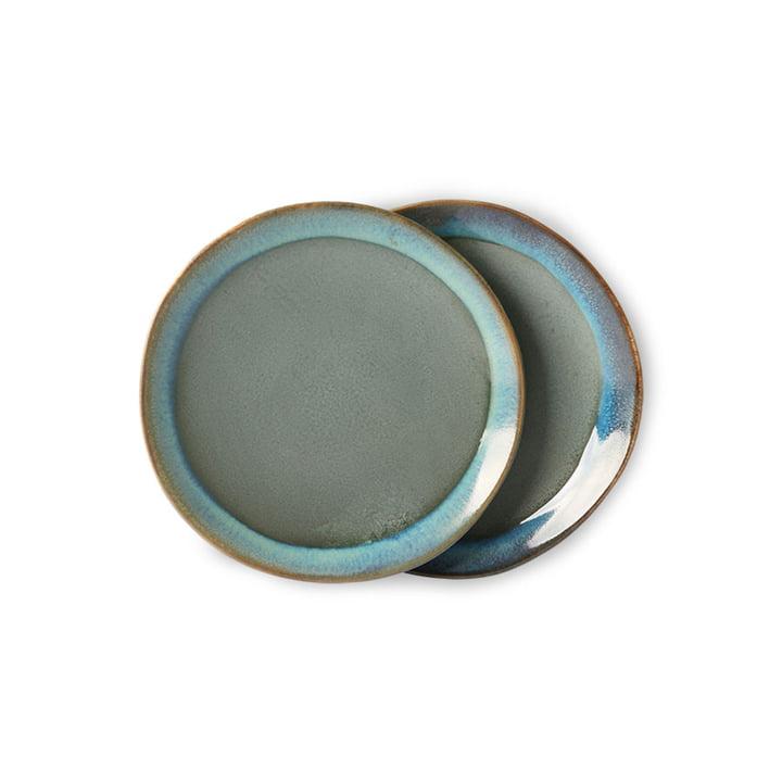 Die 70's Teller von HKliving, Ø 17,5 cm, moosgrün (2er-Set)