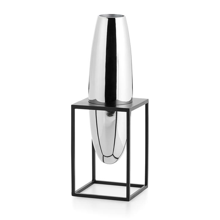 Solero Vase S im Ständer von Philippi in silber / schwarz