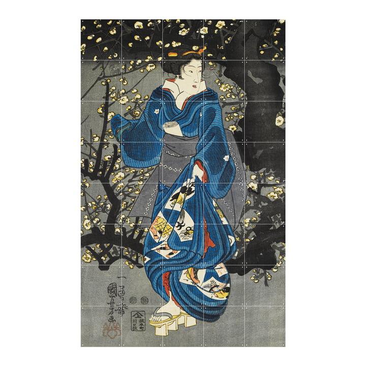 Woman by a plum tree of light Wandbild von IXXI  in der Größe 100 x 160 cm