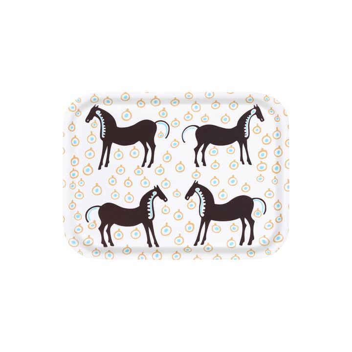 Das Musta Tamma Tablett von Marimekko, 27 x 20 cm, weiß / dunkelbraun / beige (Herbst 2021)