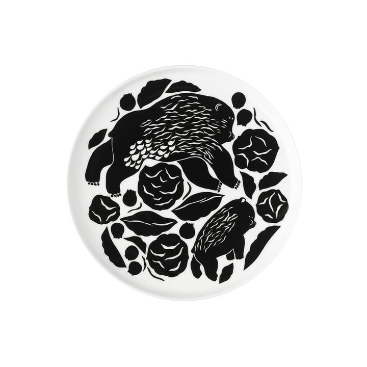 Der Karhuemo Teller von Marimekko, Ø 20 cm, weiß / dunkelgrün (Herbst 2021)