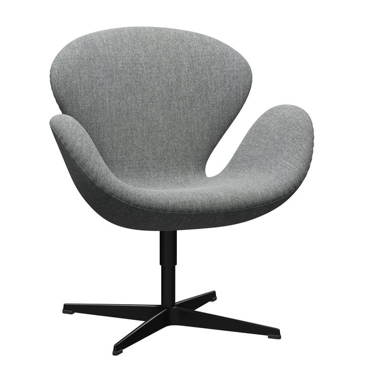 Schwan Sessel von Fritz Hansen in schwarz / Hallingdal 116 weiß-grau