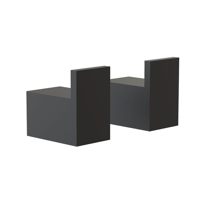 Die Quadra Wandhaken 8L von Frost, schwarz (2er-Set)