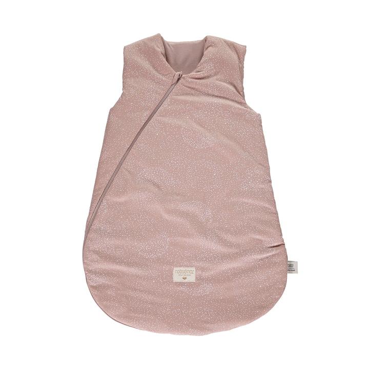 Cocoon Baby-Schlafsack 6-18 Monate von Nobodinoz in white bubble / misty pink