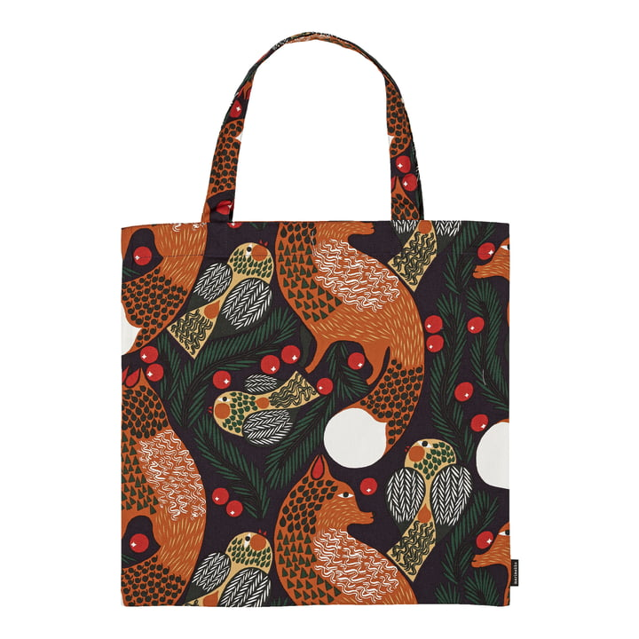 Ketunmarja Einkaufstasche von Marimekko in den Farben dunkelblau / braun / dunkelgrün