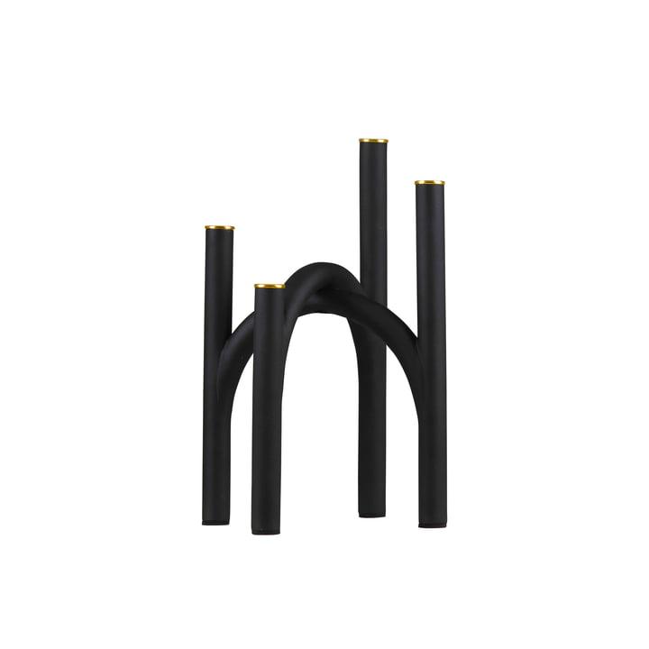 Der Angui Kerzenhalter von AYTM, 22,8 x 22,8 x 34 cm, schwarz / gold