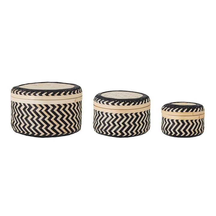 Die Jacob Aufbewahrungskörbe aus Bambus (3er-Set) von Bloomingville in der Farbe schwarz