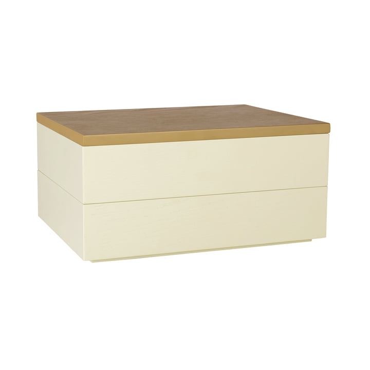 Aufbewahrungsbox mit Deckel, hellbraun / gelb von Hübsch Interior