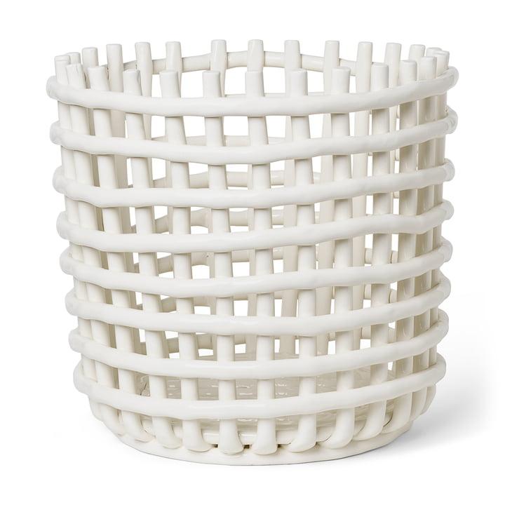 Keramik Korb XL von ferm Living in der Farbe off-white