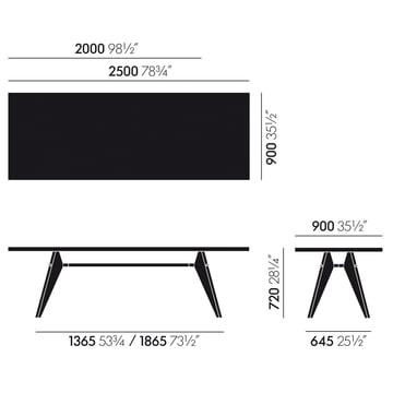 Die Maße des Em Table Esstischs von Vitra Eiche