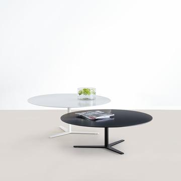 Mox - Tre 90 Couchtisch, weiß, H: 36 cm, schwarz, H: 30