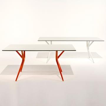 Kartell - Spoon Tisch, weiß und orange