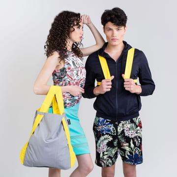Notabag - Tasche und Rucksack, gelb / grau