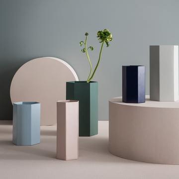 Hexagon Topf und Vase in dezenten Farben