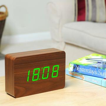 Gingko - Click Clock Brick, walnuss / LED grün