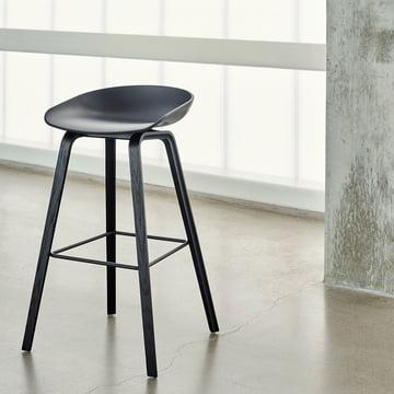 Der Hay - About A Stool AAS 32, Gestell Esche (schwarz gebeizt) / Sitzschale schwarz, Filzgleiter / H85