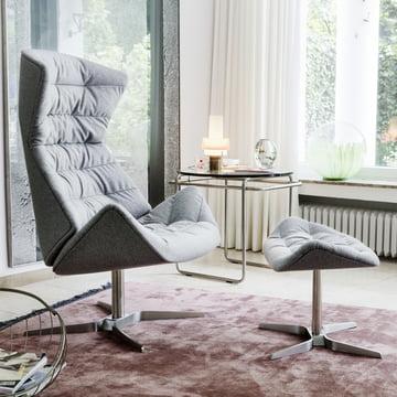 808 Lounge-Sessel von Thonet Gestell Edelstahl / Stoff Bergen (905 Grau)