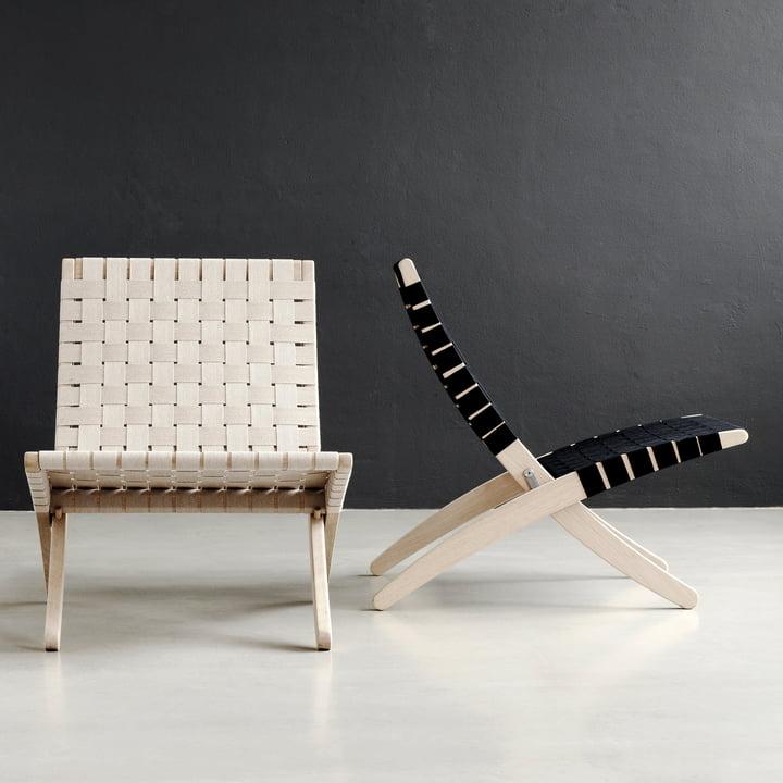 Cuba Chair Gurtgeflecht in Weiß und Schwarz
