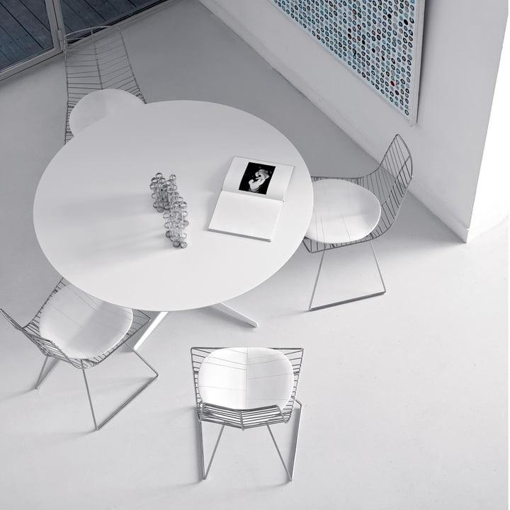 Arper - Eolo Tisch, LM1 Ø cm 120 mit Laminatoberfläche, weiß