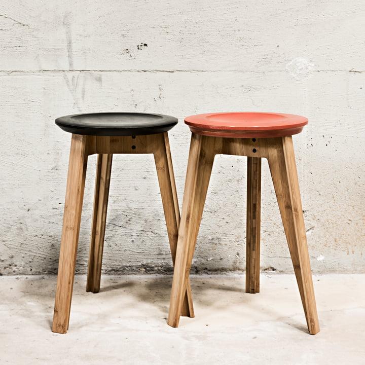 Button Stool in Rust Red und Schwarz