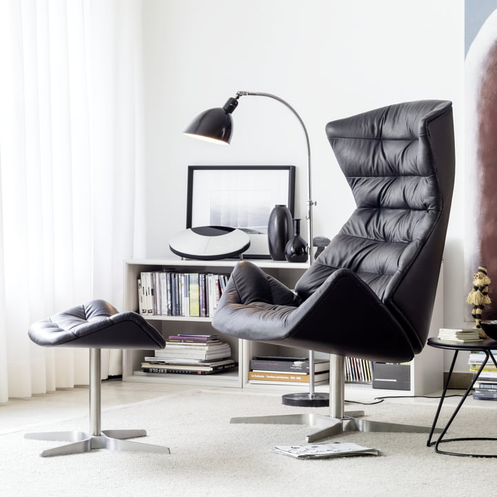 808 Lounge-Sessel und 808 Hocker von Thonet Gestell Edelstahl / Nappaleder (500 Schwarz)